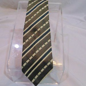 Canali Milano Silk Tie diagonal stripes green/blue